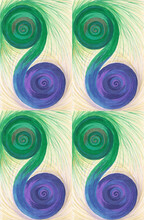 Colored Spiral Swirling Pattern Of Two Balls In Shades Of Blue And Green With Purple And Brown Tints. Fluffy Yellow And Purple Threads Fly Around The Image. Ornament For Harmony And Balance Of Power.