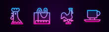 Set Line French Rooster, Baguette Bread, Rooster Weather Vane And Coffee Cup. Glowing Neon Icon. Vector