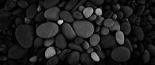 Dark Black Abstract Smooth Round Pebbles Sea Texture Background