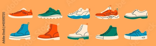 Obraz Various Shoes icons collection. Boots, sport shoes, sneakers, hiking footwear and other shoes for training. Men's and women's footwear. Hand drawn Vector illustration. All elements are isolated - fototapety do salonu