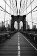 New York City brooklyn bridge in black and white, Lower Manhatten, USA