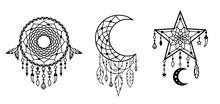 Dreamcatchers Set. Native American, Tribal Designs. Outline Vector Illustration. Boho Style Sign. Silhouette Design Elements.