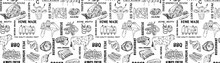 Hand Drawn Meat Products Seamless Pattern. Vintage Design Template, Banner. Great For Package Design. Vector.