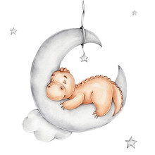 Cute Cartoon Dinosaur Sleeping On The Moon; Watercolor Hand Drawn Illustration; Can Be Used For Baby Shower Or Postcards; With White Isolated Background