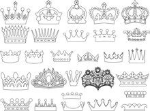 Group Of Twenty Eight Crowns Isolated On White