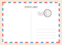 Postcard Template. Paper Blank Postal Card Backside With Stamp And Striped Frame. Empty Vintage Mail White Letter For Message Vector Mockup