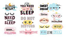 Sweet Dream. Sleeping Slogan And Good Night Elements Cute Eye Mask, Pillow, Moon And Clouds. Posters For Bedroom Or Pajama Prints Vector Set