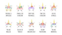 Unicorn Quotes. Magic Fairy Horse With Horn Faces And Motivational Phrase. Girl Print With Slogan Follow Your Dreams And Believe Vector Set
