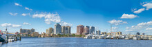 West Palm Beach Panoramic View Of City Port With Boats And Skyline On A Sunny Winter Day, Florida