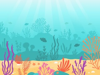 Fototapeta na wymiar Underwater background. Cartoon seascape with coral reef, sand, seaweed and fish. Ocean bottom scene, deep undersea marine vector landscape