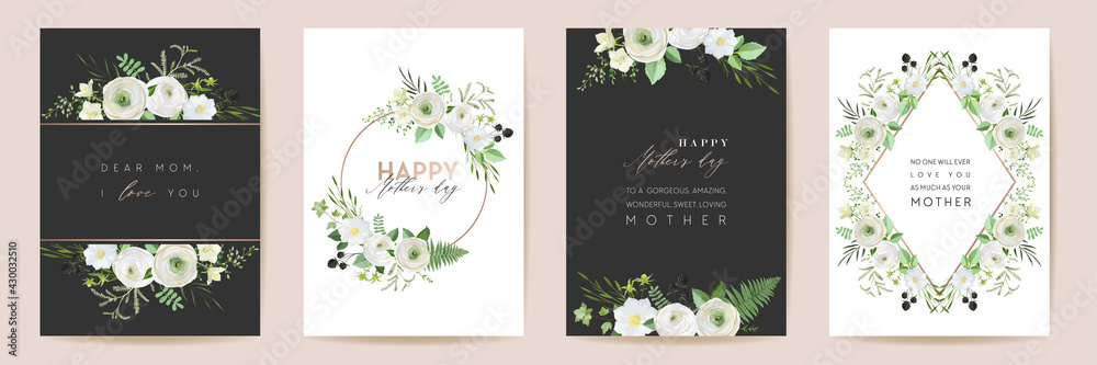 Obraz Vector Mothers day elegant floral greetings. Watercolor classic flowers frame set. Spring flower design fototapeta, plakat