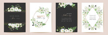 Vector Mothers Day Elegant Floral Greetings. Watercolor Classic Flowers Frame Set. Spring Flower Design