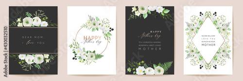 Vector Mothers day elegant floral greetings. Watercolor classic flowers frame set. Spring flower design - fototapety na wymiar