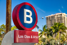 Las Olas And A1A Intersection Sign In Fort Lauderdale, Florida