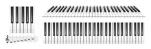 Realistic Piano Keys. Musical Instrument Keyboard Top Above View. Black And White Piano Keys