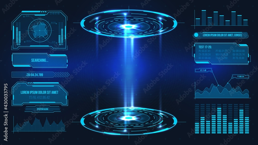 Fototapeta Futuristic platform. Hologram podium and digital data graphs and frames for product stand or game UI. Future technology sci fi vector stage