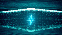 Lithium Ion Battery Starts Recharging Electric Energy Supply, Fast Charging Technology Concept, Abstract Futuristic 3d Rendering Illustration Digital Cyberspace Particle Background