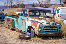 Old Junked Retro Truck From A Junk Yard.