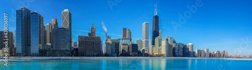 Panoramic view of the city of Chicago skyline - fototapety na wymiar