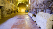 Diocletian's Palace, Underground City Of Split. Croatia. Bearing Walls, Columns And Arches Under The City, Remains Of The Roman Civilization Of The Historic Center Of The City. Architectural Complex