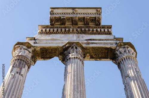 Fotografie, Obraz Detail of Ancient Roman Forum pillars in Rome
