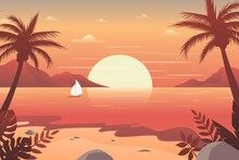 Sunset On The Beach Illustrations Background