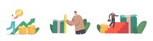 Characters With Different Income Level. Tiny Businessman Climbing On Huge Money Stack With Briefcase, Measure Banknotes