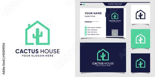 Cactus logo with house concept and business card design Tapéta, Fotótapéta