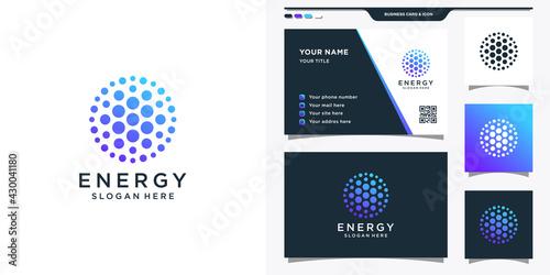 Abstract energy logo with dot icon. Sun solar energy logo and business card design Premium Vector - fototapety na wymiar