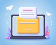 File Transfer Concept. Yellow Folder With Document On Computer Monitor. 3d Vector Illustration.