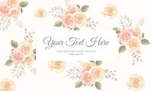 Elegant Floral Frame Background Design With Soft Color Blooming Roses Flower