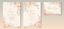 Elegant Wedding Invitation Template With Soft Color Blooming Roses Flower