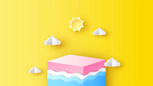 Illustration Of Sea On The Square Box With Cloud And Sun Hanging Down. Square Box Design For Used In Placing Your Products In Summer. Paper Cut And Craft Style. Vector, Illustration.