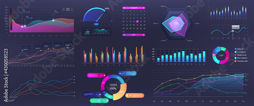 Photographie Graphics infographic, template dashboard with info elements - charts, diagrams, data analytics, infographic and online statistics