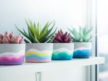 Colorful DIY Concrete Pot On Wooden Shelf.