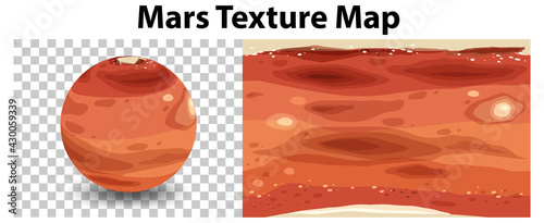 Photo Mars planet on transparent with Mars texture map