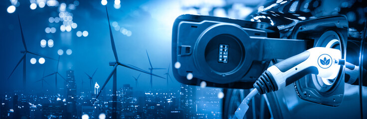 Vehicle EV electric car charge battery with wind turbine and blue sky blur bokeh on panoramic cityscape background. Idea nature electric energy to generate electricity. Green drive energy eco concept