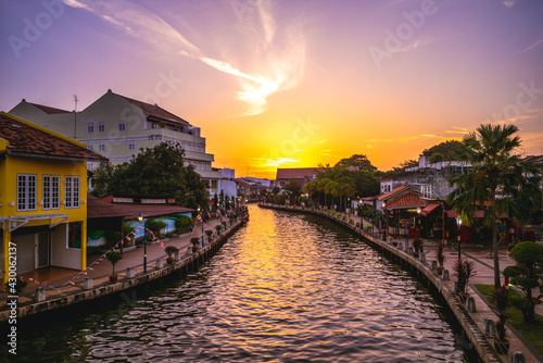 canal and the old town in melaka, or malacca, Malaysia at dusk - fototapety na wymiar