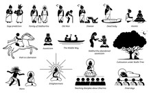 Gautama Buddha Life Story In Stick Figure Icons. Vector Illustrations Depict The Story Of Siddhartha Gautama Becoming Buddha After Meditation Under Bodhi Tree And Achieve Enlightenment.