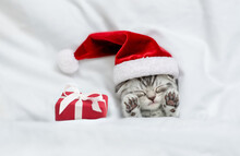 Funny Kitten Wearing Red Santa Hat Sleeps With Gift Box Under A White Blanket On A Bed. Top Down View