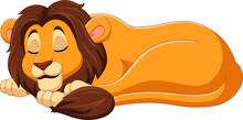 Cartoon Lion Sleeping On White Background