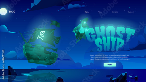 Ghost ship cartoon landing page with dead pirate spirit and haunted sailing boat glowing and soar over night sea with sticking rocks. Halloween filibuster adventure on secret island, vector web banner