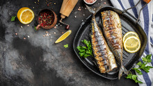 Baked Mackerel Fish In A Pan With Lemon Herbs And Spices, Banner, Menu Recipe Place For Text, Top View