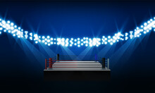 Beautifully Lit Boxing Stadium And Lights Vector Design