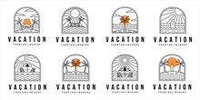Set Of Vacation On The Beach Logo Line Art Vector Illustration Template Design. Bundle Collection With Various Tropical Island Badge Concept Illustration Design