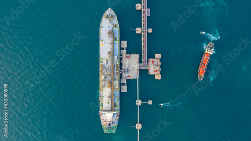 Fototapeta Aerial view tanker park offshore at oil terminal commercial port for transfer crude oil to oil refinery, Global business logistic industrial crude oil and fuel tanker ship. obraz