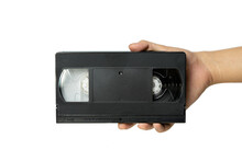 Video Tape Cassette VHS Holding In Hand.
