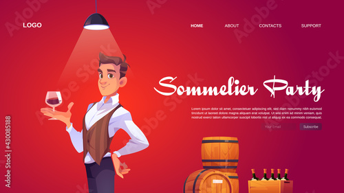 Obraz Sommelier party website with man holding wineglass. Banner of tasting alcohol drinks in winery bar or restaurant. Vector landing page with cartoon taster, wooden barrels and wine bottles - fototapety do salonu