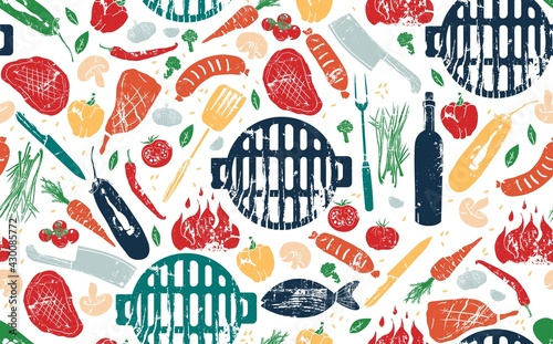 Canvas Seamless Pattern with Barbecue. Vector illustration.
