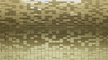 Polished, 3D Wall Background With Tiles. Rectangle, Tile Wallpaper With Gold, Luxurious Blocks. 3D Render